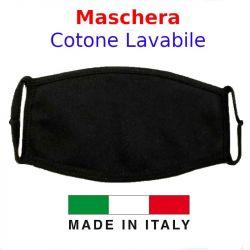 Mascherina protezione in Cotone Lavabile Nera  - 1