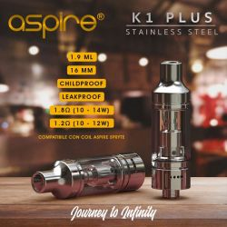 ASPIRE K1 PLUS 16MM 1.9ML CON COIL BVC STAINLESS STEEL - ACCIAIO